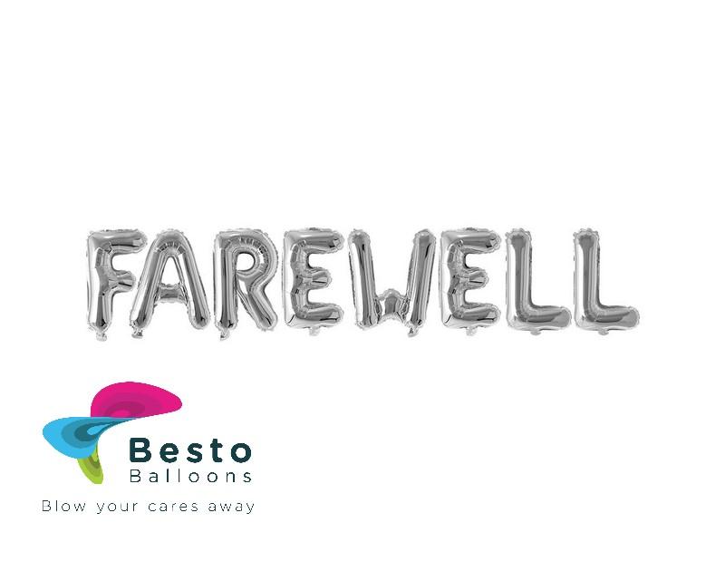 Farewell silver Alphabet Foil Balloon