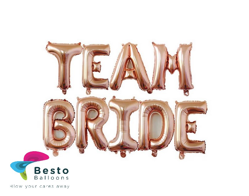 Team Bride Rose Gold Alphabet Foil Balloon