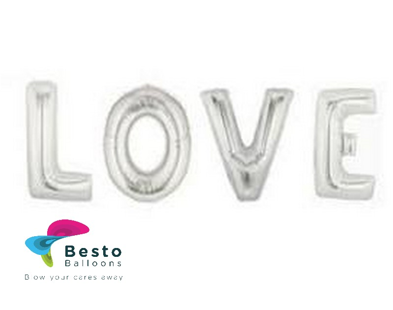 Love Silver Alphabet Foil Balloon