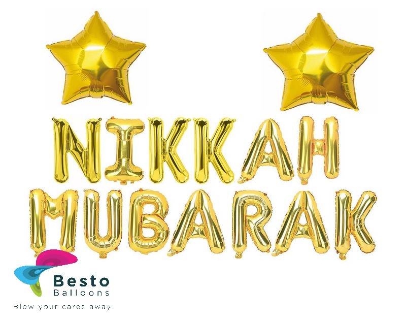 Nikkah Mubarak Golden Alphabet Foil Balloon